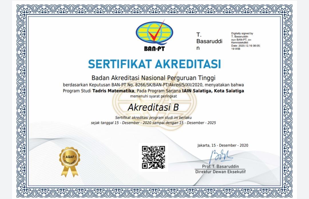 Sertifikat Akreditasi Program Studi Tadris Matematika, Program Sarjana, IAIN Salatiga